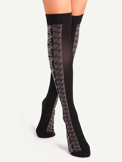 Black Patchwork Jacquard Over The Knee Socks