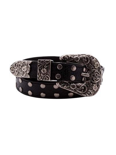 Black Vintage Carved Buckle Studded Belt