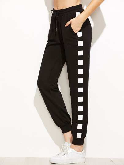 Black Geo Print Drawstring Waist Sweatpants