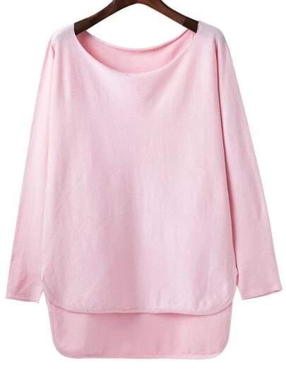 Pink Scoop Neck Dip Hem Knitwear