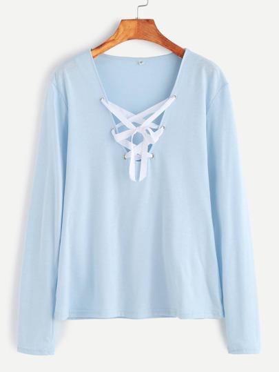 Camiseta con cuello en V con cordones - azul