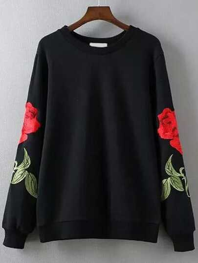 Black Rose Embroidery Round Neck Sweatshirt