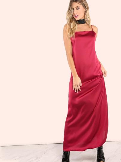 Satin Low Back Maxi Dress BURGUNDY