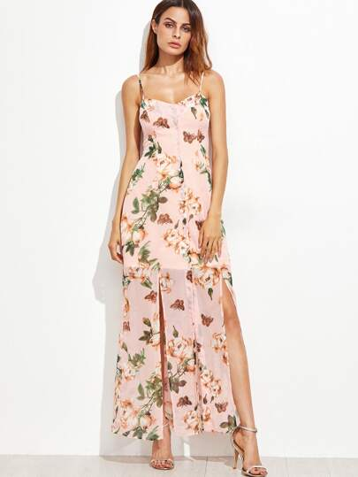 Pink Floral Spaghetti Strap Split Dress