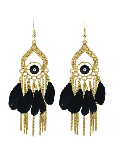 Black Retro Style Colorful Feather Chandelier Earrings