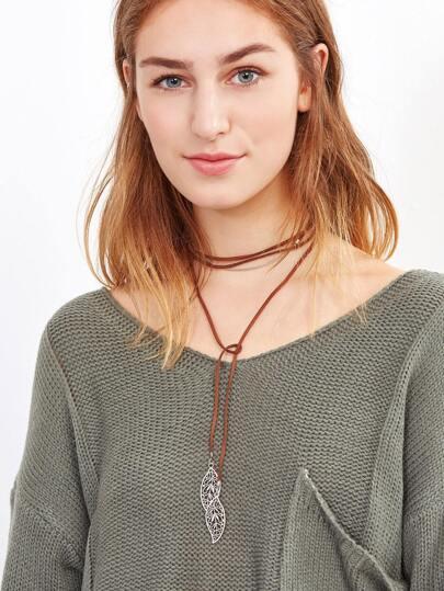 Brown Hollow Leaf Pendant Wrap Choker Necklace