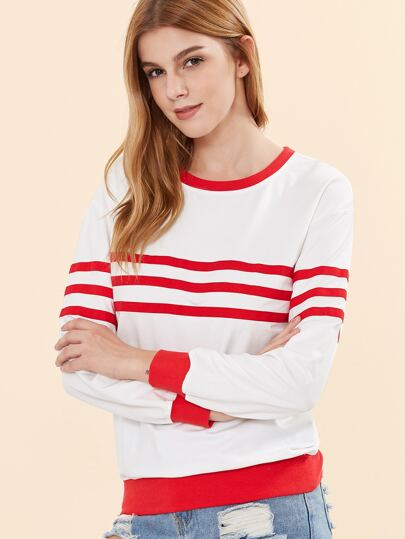 White Striped Drop Shoulder Ringer Sweatshirt
