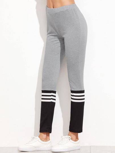 Contrast Striped Trim Leggings