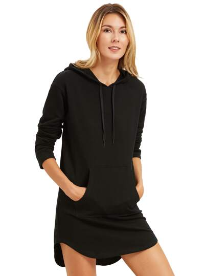 Curved Hem Hoodie Dress With Kangaroo Pocket