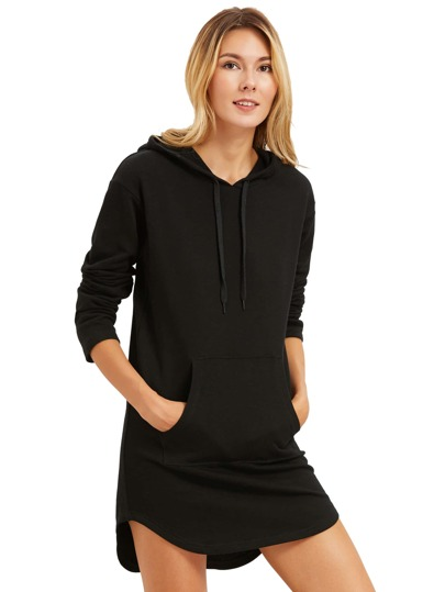 Negro curvado hem camiseta con capucha vestido con bolsillo