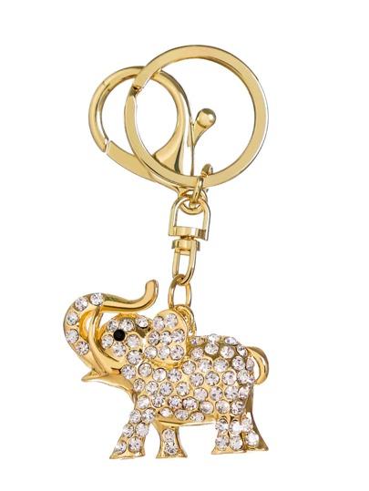 Gold Plated Elephant Rhinestone Keychain
