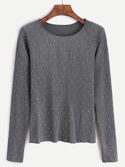 Grey Polka Dot Long Sleeve T-Shirt