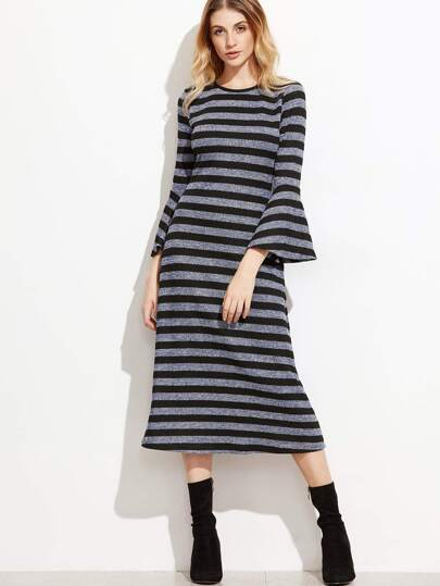Multicolor Striped Marled Knit Bell Sleeve Dress