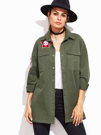 Olive Green Button Up Utility Coat With Sleeve Patch