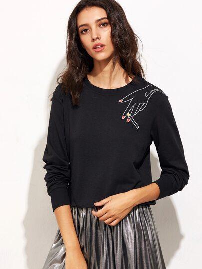 Black Graphic Print Sweatshirt
