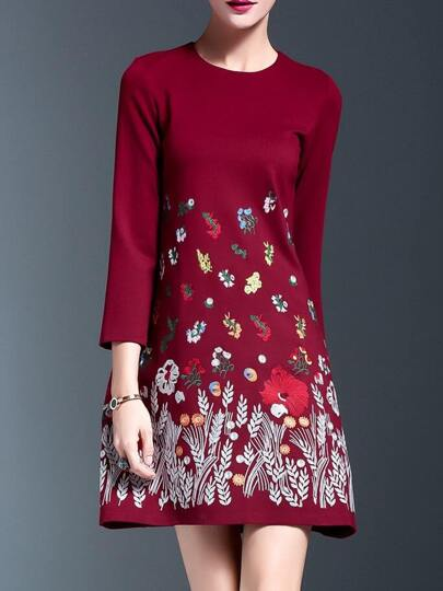 Burgundy Flowers Embroidered Shift Dress