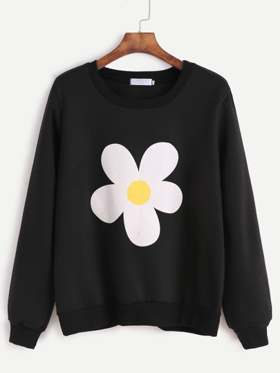 Black Flower Print Sweatshirt