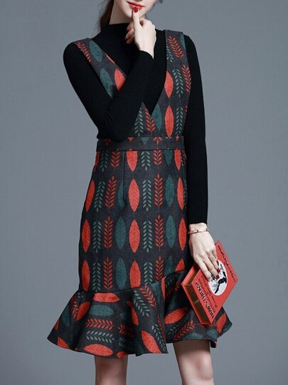 Multicolor Knit Two-pieces Leaves Print Frill Dress