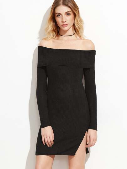 Off The Shoulder Foldover Slit Hem Ribbed Dress