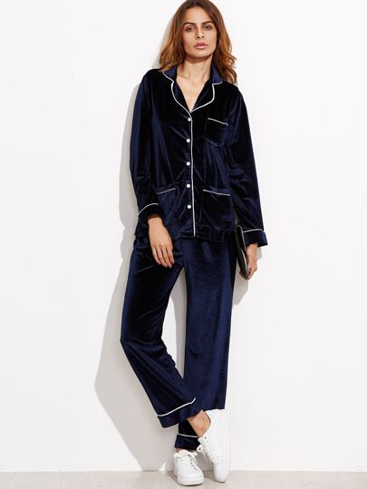 Navy Velvet Contrast Trim Pajama Suit