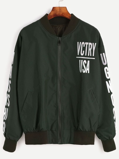 Contrast Ribbed Trim Letter Print Jacket