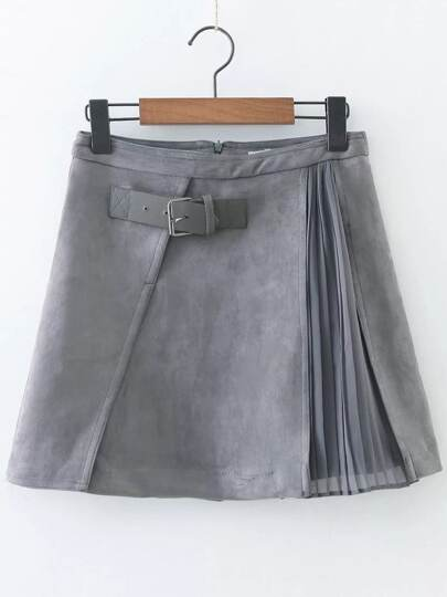 Pleated Suede Skirt With Buckle Strap