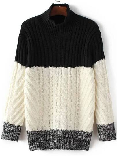 Black Color Block Mock Neck Sweater