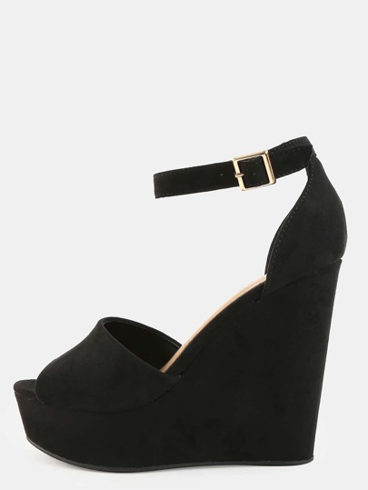 Faux Suede Ankle Strap Wedges BLACK