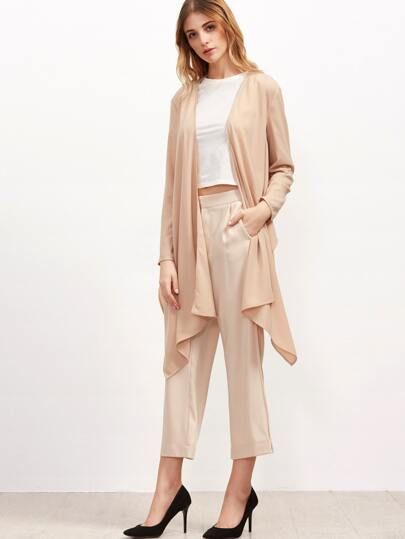 Nude Waterfall Collar Asymmetric Jacket