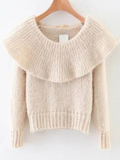 White Ribbed Boat Neck Sweater