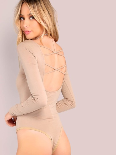 Long Sleeve Double Cross Back Bodysuit TAUPE