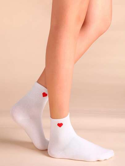 Heart Embroidered Crew Socks