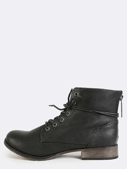 High Cut Lace Up Ankle Booties BLACK