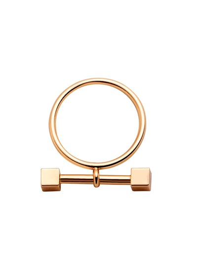 Gold Plated Dumbbell Ring