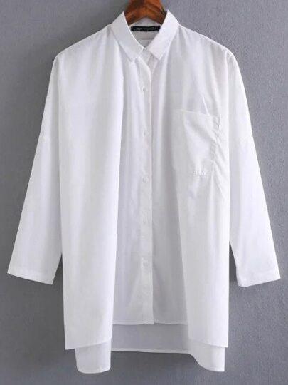 White Drop Shoulder Slit Side High Low Shirt