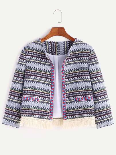 Multicolor Tribal Print Embroidered Tape Detail Fringe Hem Blazer