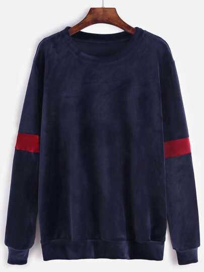 Navy Contrast Trim Velvet Sweatshirt