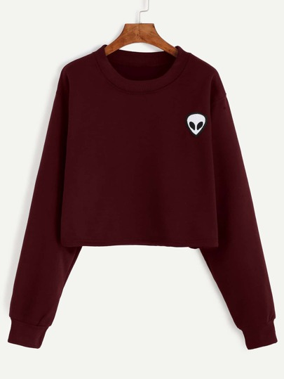 Alien Embroidered Patch Crop Sweatshirt