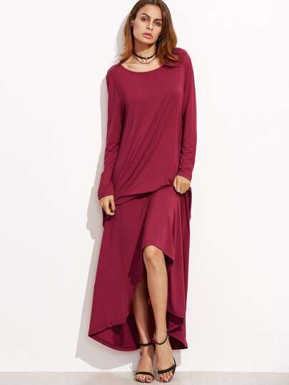 Burgundy Long Sleeve Maxi Swing Dress