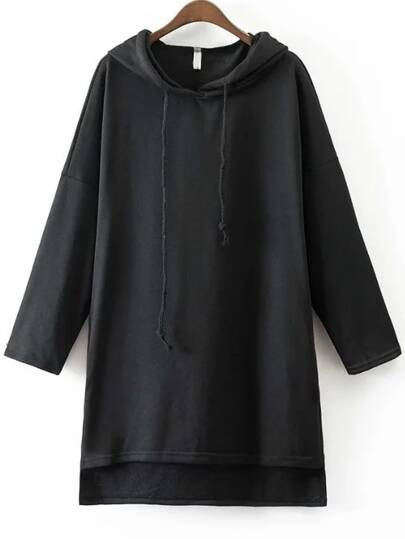 Black Hooded Oversized High Low Sweatshirt