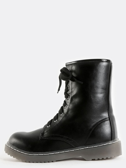 Lace Up Round Toe Combat Boots BLACK