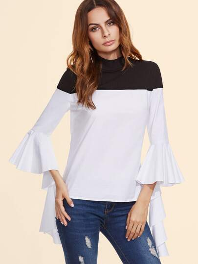 Black And White Mixed Media Ruffle Sleeve Blouse