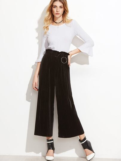 Black Pleated Velvet Wide Leg Pants With Metal Ring