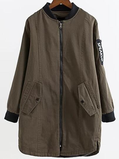 Army Green Letter Print Zipper Longline Jacket