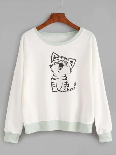 Contrast Trim Cat Print Sweatshirt