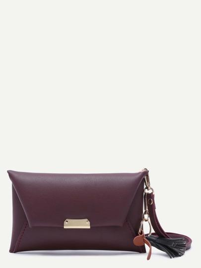 Maroon PU Tassel Trim Envelope Bag