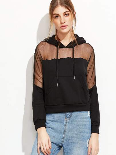 Black Mesh Insert Crop Hooded Sweatshirt