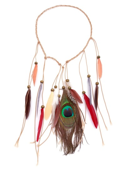 Multicolor Feather Fringe Braided Beaded Hair Accessory