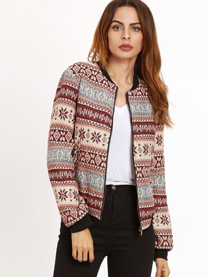 Multicolor Tribal Jacquard Zip Up Bomber Jacket