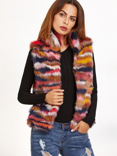 Multicolor Faux Fur Stand Collar Vest